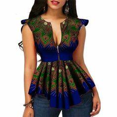 Modern Fashion Womens Tops Dashiki African Print Shirt Plus Size African Print Shirt, African Shirts, African Print Dresses, African Print Fashion, Africa Fashion, African Dress, African Dashiki, Modern Fashion, Look Fashion