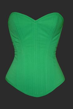 Green Overbust Steel Boned Corset by TheCorsetCarriage on Etsy