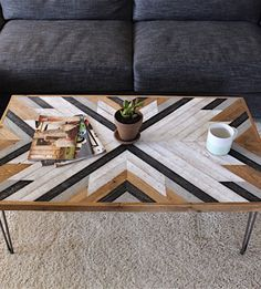 Awesome patterned coffee table. Ana White