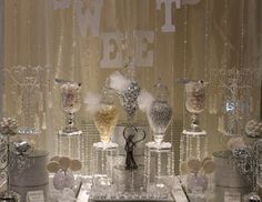 BY TASTY TABLES: white candy buffet, bling candy buffet, candy buffet san diego, wedding candy buffet