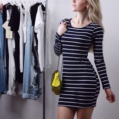 Navy Stripe Mini Classic style navy & white stripe mini dress. LOVE THIS! Quality thicker material is not sheer, very soft, stretchy and hugs the body so nicely. 60% cotton 35% poly 5% spandex. New without tag. Sizes M and L available. S sold out. Boutique Dresses Mini