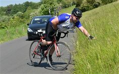 Amateur cyclist's celebrations that were his downfall - Some soft tissue damage happening here!