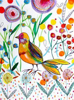 Bird Watercolor Acrylic Paint Ink Bird par CelineArtGalerie sur Etsy, €80.00