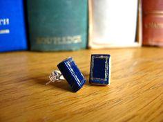 tiny #Book stud earrings. #Geek