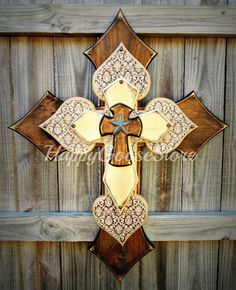 X-Large Wall CROSS in Stain, Brown Damask, and Antiqued Beige