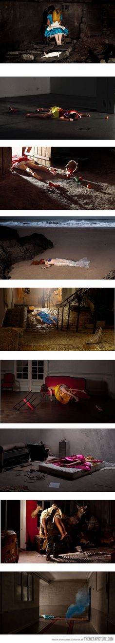 Disney's bad endings. I don't know what this says about me, but I find this morbidly fascinating. It's kind of a cool idea, from a photography aspect.