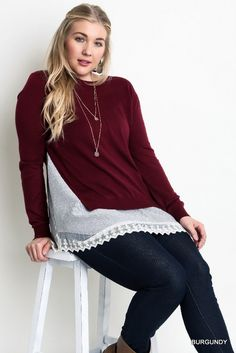 Plus Size Layered Lace Sweater Burgundy