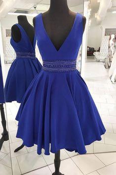 Cute v neck blue beads short prom dress, blue homecoming dress