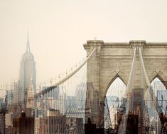 "Manhattan Skyline, New York Print, NYC Art, Brooklyn Bridge, Empire State Building, Travel, Pink NYC Skyline Photograph – ""Dreams of Cities"""