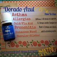 ALLERGY RELIEF in a major way!  YL Dorado Azul Essential Oil is my NUMBER 1 choice for the toughest of allergy symptoms!  I simply put 1-2 drops in my hands, rub them together, cup them over my face and then take long deep breaths. I rub the excess on my chest and I'm good to go!  You can also diffuse it :)