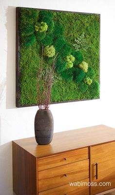 """36x36"""" Moss Wall Art. No care green natural wall decor. Real preserved moss and ferns, pine wood fra"""