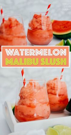 This Watermelon Malibu Slush has just a handful of ingredients and is perfect for keeping in the freezer for impromptu cocktail hours all summer!