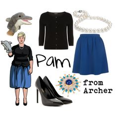 A fashion look from July 2013 featuring Dorothy Perkins cardigans, Yves Saint Laurent pumps and Blue Nile necklaces. Browse and shop related looks. Halloween Cosplay, Halloween Costumes, Halloween Ideas, Halloween 2014, Casual Cosplay, Cosplay Outfits, Pam Poovey, Archer Costume, Steampunk