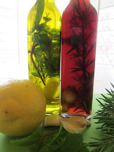 Homespun With Love: Recipe Wednesday:Herb Infused Oil & Vinegar Flavored Oils, Infused Oils, Jar Gifts, Food Gifts, Olives, Sauces, Edible Gifts, Spice Mixes, Natural Oils