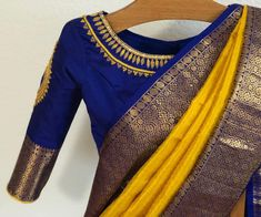 Vintage saree look Wedding Saree Blouse Designs, Pattu Saree Blouse Designs, Half Saree Designs, Saree Blouse Patterns, Fancy Blouse Designs, Designer Blouse Patterns, Saree Wedding, Wedding Attire, Wedding Bride