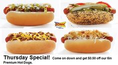 Come on down to SONIC today and get $0.50 off our 6in Premium Hot Dogs! Which dog is your favorite?!? Let us know!