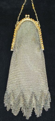 Whiting and Davis Jeweled Soldered Mesh Purse, 1920s