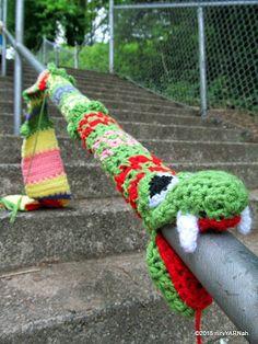 Stairway to nirvYARNah. Public art yarnbomb by nirvYARNah, 2015. Mission, BC.