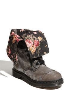 Dr Martens Triumph 1914 in black floral. Laces are black satin ribbon. They'd look super cute with a dress
