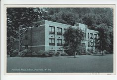 Pineville High School West Virginia Wyoming County WV Old Postcard Vintage