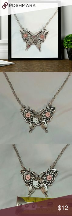 "Steampunk butterfly gear  necklace Steampunk butterfly gear necklace,  silver with pink gears. 22"" chain. Jewelry Necklaces"