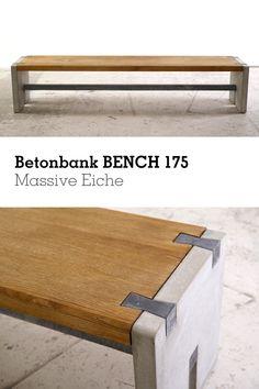 """Die #Betonbank BENCH 175 ist aus massiver Eiche* (5 cm). Die Seitenteile sowie """"Schwalbenschwänze"""" sind aus naturgrauem und anthraziten #Beton. Das bringt dieses spezielle Verbindungsdetail schön zur Geltung. Die Querstrebe unterhalb ist ebenfalls aus Beton. Outdoor Furniture, Outdoor Decor, Bench, Table, Design, Home Decor, Banquette Bench, Stools, Timber Wood"""