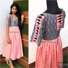 Photo by mesmaa on January Image may contain: people standing Salwar Neck Designs, Silk Kurti Designs, Dress Neck Designs, Kurta Designs Women, Kurti Designs Party Wear, Fancy Blouse Designs, Churidhar Neck Designs, Kalamkari Blouse Designs, Girls Frock Design