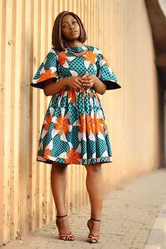 MADE IN NIGERIA ANGEL SLEEVE ANKARA DRESS - Princess Audu African Inspired Fashion, Latest African Fashion Dresses, African Print Dresses, African Print Fashion, Ankara Fashion, Ankara Short Gown Styles, Short Gowns, African Attire, African Wear