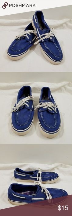 Sperry Top-Sider Cloth Blue Boat Shoes Sperry Top-Sider boat shoes. Made of a thick, sturdy, cloth material. They are blue and have signs of wear (pictured). Sperry Top-Sider Shoes Flats & Loafers