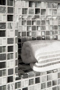 #towelshelf #shower #housetrends #gray #glasstile #mosaic