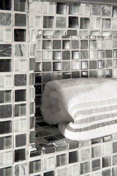 #towelshelf #shower #housetrends #gray #glasstile #mosaic