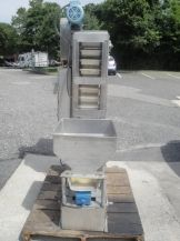 """1-USED BUCKET ELEVATOR/CAP ESCALATOR, STAINLESS STEEL OUTER CONSTRUCTION. FEATURING PLASTIC BUCKETS, EACH MEASURING APPROX. 4"""" X 8"""". FLOOR INFEED SECTION APPROX. 30"""" LONG W/SS VIBRATORY TROUGH 10"""" X 20"""". TOP DISCHARGE APPROX. 36"""" LONG REACH. DISCHARGE HEIGHT APPROX. 52"""". DRIVEN BY 1/2HP 3/60/208-230-460 VOLT."""