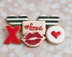 Valentine's Day Sugar Cookies by TheBakedEquation on Etsy Valentines Day Cookies, Valentines Day Deserts, Valentine Cookies, Valentine's Day Sugar Cookies, Iced Cookies, Cute Cookies, Cupcake Cookies, Cookie Frosting, Royal Icing Cookies