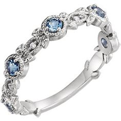 This aquamarine and diamond leaf ring is set in white gold and is perfect as a stand-alone ring, an aquamarine wedding band, or whatever your heart desires. Gold Rings, Gemstone Rings, Enchanted Jewelry, Leaf Ring, Anniversary Bands, Diamond Bands, Semi Precious Gemstones, Colored Diamonds, Fashion Rings