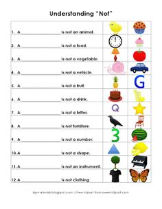 "Ms. Lane's SLP Materials: Receptive Language: Understanding ""Not"""