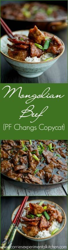 Mongolian Beef {PF Changs Copycat} | www.carriesexperimentalkitchen.com Enjoy one of your favorite restaurant recipes at home.