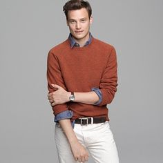 Basic sweater with a chambray shirt - perfect.