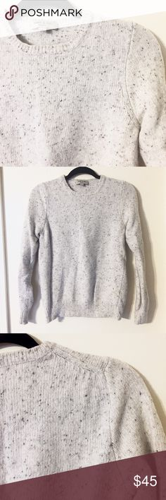 Frank & Oak Cream Sweater Gently used Frank & Oak cream and grey colored sweater. Material: 65% wool and 35% nylon  CLOSET POLICY:  ✔️ACCEPT MOST OFFERS 📦BUNDLES (20% OFF 2 OR MORE) 🚫NO TRADES🚫 🚫NO PAYPAL🚫 Frank & Oak Sweaters