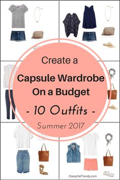 Create a Summer capsule wardrobe on a budget!   See 10 outfits ideas from just a few clothe and shoes.  This post shares a few pieces in the capsule wardrobe and shows how you can mix and match those pieces to create several outfits! Transform your closet with pieces like shorts, a skirt, tee, eyelet top, cold shoulder top, poncho, denim vest, ankle pants and more.