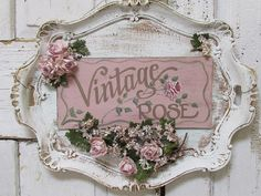 Serving tray wall hanging shabby cottage chic painted 'vintage rose' plaque roses millinery flower embellished sign decor anita spero design