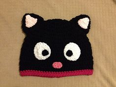 Made this hat for a friend and decided to share the pattern with everyone else who loves Chococat. I love seeing all the finished hats. I also like the modifications, they are all really awesome. Please keep posting photos! Gato Crochet, Crochet Cap, Baby Afghan Crochet, Baby Girl Crochet, Crochet For Kids, Crocheted Hats, Free Crochet, Bandanas, Stitch Ears