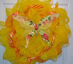 Yellow Butterfly Spring Deco Mesh Wreath