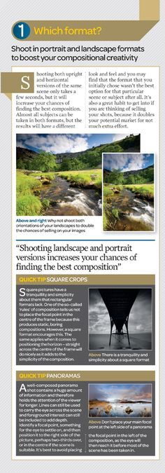 How to compose a photograph cheat sheet: panel 1