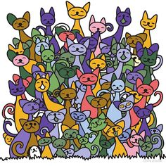 'doodle cats pile' by Chris olivier Animal Doodles, Framed Prints, Canvas Prints, Cute Backgrounds, Doodle Sketch, Abstract Images, Coloring Books, Royalty Free Stock Photos, Wrapping