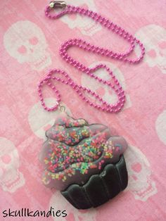 Pastel goth creepy cute resin cupcake pendant by skullkandies