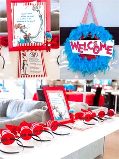 Cat in The Hat inspired birthday party ideas with DIY decorations, printables, food, games and DIY party favors - via BirdsParty.com @birdsparty