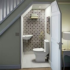downstairs toilet utility room under stairs Bathroom Suite, Bathroom Under Stairs, House Bathroom, Basement Remodeling, Bathroom Layout, Powder Room Design, New Homes, House Interior, Downstairs Toilet
