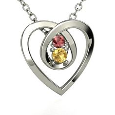 Sterling Silver Heart Necklace with Citrine & Red Garnet..his and her birthstones :) I like