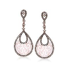 """Ross-Simons - Pink Mother-Of-Pearl and .80 ct. t.w. Brown Diamond Earrings in 14kt Rose Gold. 1 3/8"""" - #840342"""