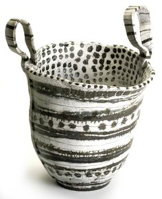 Brenda Holzke TRIBAL MARKINGS 18x 15high fired stoneware
